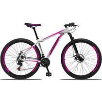 Bicicleta Aro 29 Aluminium 21v Freio a Disco Branco Rosa Dropp -