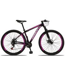 Bicicleta Aro 29 Aluminum 21v Freio a Disco Preto Rosa Dropp -