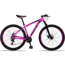 Bicicleta Aro 29 Aluminum 21v Freio a Disco Rosa Preto Dropp -