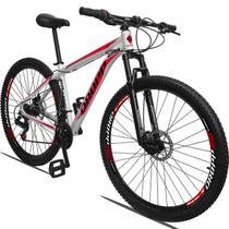 Bicicleta Aro 29 DROPP Alumínio 21 Marchas Freio a Disco Branco+Vermelho - MIDAS ARMAZÉM