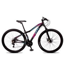 Bicicleta Aro 29 Dropp Flower Alumínio 21v Freio a Disco Preto Azul e Rosa Feminina -