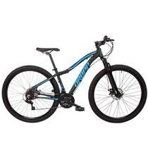 Bicicleta Aro 29 Dropp Flower Alumínio 21v Freio a Disco Preto e Azul Feminina -