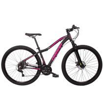 Bicicleta Aro 29 Dropp Flower Alumínio 21v Freio a Disco Preto e Rosa Feminina -