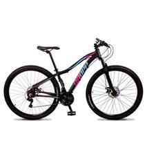 Bicicleta Aro 29 Dropp Flower Alumínio 21v Freio a Disco Preto Rosa e Azul Feminina -