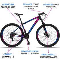 Bicicleta Aro 29 Dropp Z3 21v Câmbios Shimano Freio a Disco Preto Rosa e Azul -