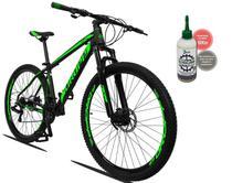 Bicicleta Aro 29 Dropp Z3  Tam:17 21V Simano Freio a Disco e Suspensão preto e verde  + Lubrificante Cera 120ML -