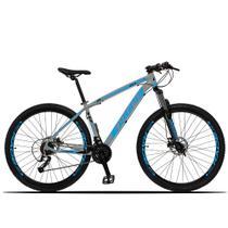 Bicicleta Aro 29 Dropp Z3-X 27v Freio Hidráulico Suspensão c/ Trava Cinza e Azul -