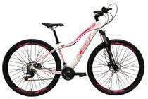 Bicicleta Aro 29 Feminina 24 Marchas Câmbios Shimano Freio Disco Hidráulico  - Branca c/ Rosa Tam 15 - Ksw