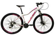 Bicicleta Aro 29 Feminina 24 Marchas Câmbios Shimano Freio Disco Hidráulico  Branca/Roxo/Rosa Tam 17 - Ksw