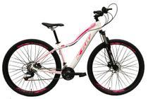 Bicicleta Aro 29 Feminina 24 Marchas Câmbios Shimano Freio Disco Hidráulico  - Branco c/ Rosa Tam 17 - Ksw