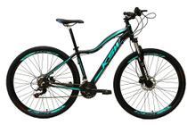 Bicicleta Aro 29 Feminina 24 Marchas Câmbios Shimano Freio Disco Hidráulico Garfo com Suspensão - Preto/Azul Tam.15 - Ksw
