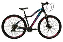 Bicicleta Aro 29 Feminina 24 Marchas Câmbios Shimano Freio Disco Hidráulico Garfo com Suspensão - Preto/Roxo/Azul Tam.17 - Ksw
