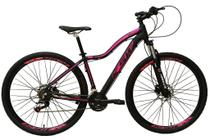 Bicicleta Aro 29 Feminina 24 Marchas Câmbios Shimano Freio Disco Hidráulico  - Preta com Rosa Tam 17 - Ksw