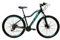 Bicicleta Aro 29 Feminina Ksw Mwza 21v Alumínio Freio a Disco Garfo Suspensão Preto/Azul Tam.17 -
