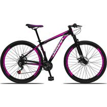 Bicicleta Aro 29 Freio a Disco Mecânico Quadro 15 Alumínio 21 Marchas Preto Rosa - Dropp -