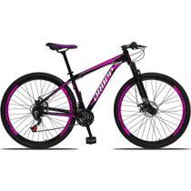 Bicicleta Aro 29 Freio a Disco Mecânico Quadro 17 Alumínio 21 Marchas Preto Rosa - Dropp -