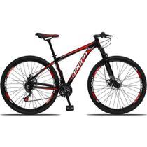 Bicicleta Aro 29 Freio a Disco Mecânico Quadro 17 Alumínio 21 Marchas Preto Vermelho - Dropp -