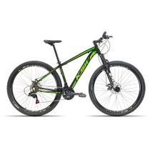 Bicicleta Aro 29 KSW 24 Velocidades Kit Shimano Freio Hidraulico Preto com Verde 17 -