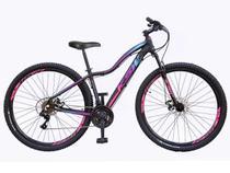 Bicicleta aro 29 Ksw Mwza Feminina 24v Alumínio Freio a Disco Garfo Suspensão Preta com Roxo e Azul Tam.15 -