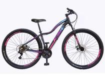 Bicicleta aro 29 Ksw Mwza Feminina 24v Alumínio Freio a Disco Garfo Suspensão Preta com Roxo e Azul Tam.17 -