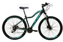 Bicicleta aro 29 Ksw Mwza Feminina 24v Alumínio Freio a Disco Garfo Suspensão Preta e Azul Tam.17 -