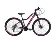 Bicicleta aro 29 Ksw Mwza Feminina 24v Alumínio Freio a Disco Garfo Suspensão Preta e Rosa Tam.17 -