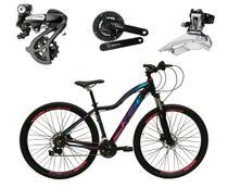 Bicicleta aro 29 Ksw Mwza Feminina Altus 24V Freio Disco Hidráulico Garfo Trava Preta com Pink e Azul Tam.17 Alumínio -