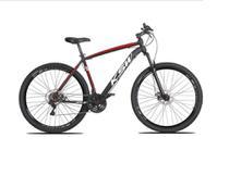 Bicicleta aro 29 Ksw Xlt 24v Alumínio Freio a Disco Garfo Suspensão Preta com Vermelho e Branco Tam.17 -
