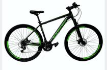 Bicicleta Aro 29 Off Alumínio Disco Suspensão Preto/Verde Quadro 19 - Ello Bike