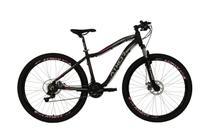 Bicicleta aro 29 orion 21v shimano f. a.disco preta fosca c/ rosa t17 - preta fosca/rosa - athor -