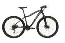 Bicicleta aro 29 orion 21v shimano f. a.disco preta fosca c/ verde t17 - preta fosca/verde - athor -