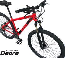 Bicicleta Aro 29 Pressure Rava Deore 30v Freio Hidraulico Suspensão Trava no Guidão -