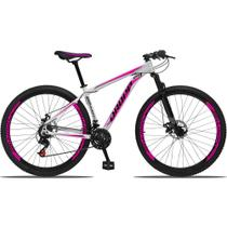Bicicleta Aro 29 Quadro 15 Alumínio 21 Marchas Freio a Disco Mecânico Branco/Pink - Dropp -