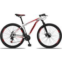 Bicicleta Aro 29 Quadro 15 Alumínio 21 Marchas Freio a Disco Mecânico Branco/Vermelho - Dropp -