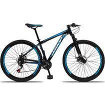 Bicicleta Aro 29 Quadro 15 Alumínio 21 Marchas Freio a Disco Mecânico Preto/Azul - Dropp -