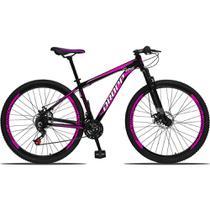 Bicicleta Aro 29 Quadro 15 Alumínio 21 Marchas Freio a Disco Mecânico Preto/Pink - Dropp -
