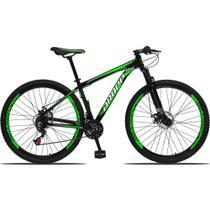 Bicicleta Aro 29 Quadro 15 Alumínio 21 Marchas Freio a Disco Mecânico Preto/Verde - Dropp -