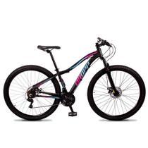 Bicicleta Aro 29 Quadro 15 Alumínio 21 Marchas Freio Disco Mecânico Flower Preto/Rosa Azul - Dropp -