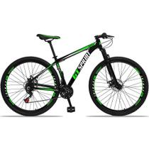 Bicicleta Aro 29 Quadro 15 Alumínio 21 Marchas Freio Disco Mecânico MX1 Preto/Verde - GT Sprint -