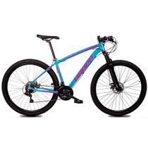 Bicicleta Aro 29 Quadro 15 Alumínio 21 Marchas Freio Disco Mecânico Z1-X Azul/Rosa - Dropp -