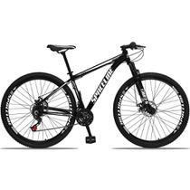 Bicicleta Aro 29 Quadro 15 Alumínio 21v com Suspensão e Freio Disco Orion Preto/Branco - Spaceline -