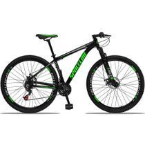 Bicicleta Aro 29 Quadro 15 Alumínio 21v com Suspensão e Freio Disco Orion Preto/Verde - Spaceline -