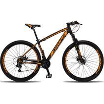 Bicicleta Aro 29 Quadro 15 Alumínio 21v Suspensão Freio Disco Mecânico Z3 Preto/Laranja - Dropp -