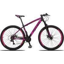 Bicicleta Aro 29 Quadro 15 Alumínio 21v Suspensão Freio Disco Mecânico Z3 Preto/Rosa - Dropp -
