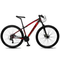 Bicicleta Aro 29 Quadro 15 Alumínio 24v Suspensão Trava Freio Hidráulico Z4-X Preto/Vermelho - Dropp -