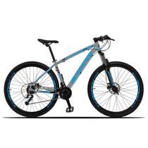 Bicicleta Aro 29 Quadro 15 Alumínio 27 Marchas Freio Disco Hidráulico Z3-X Cinza/Azul - Dropp -