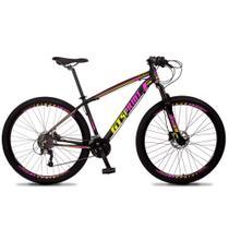 Bicicleta Aro 29 Quadro 15 Alumínio 27v Freio Hidráulico Volcon Preto/Rosa/Amarelo - GT Sprint - Dropp