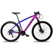 Bicicleta Aro 29 Quadro 15 Alumínio 27v Suspensão Trava Freio Hidráulico Z7-X Rosa/Azul - Dropp -