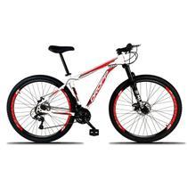 Bicicleta Aro 29 Quadro 15 Freio a Disco Mecânico 21 Marchas Alumínio Branco Vermelho - Dropp -