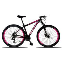 Bicicleta Aro 29 Quadro 15 Freio a Disco Mecânico 21 Marchas Alumínio Preto Rosa - Dropp -